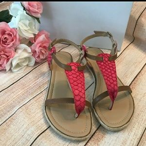 Sundance Pink And Brown Leather Sandals